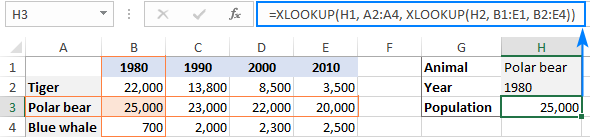 INDEX MATCH MATCH formula to lookup in rows and columns