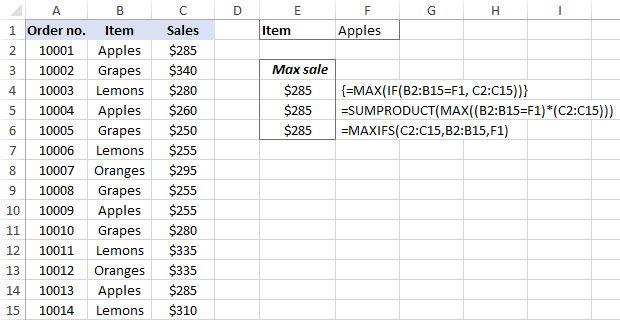 Max function in Excel with conditions