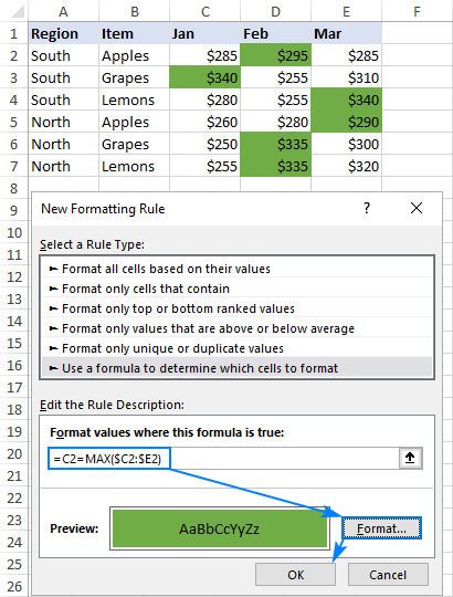 Highlighting the largest value in each row