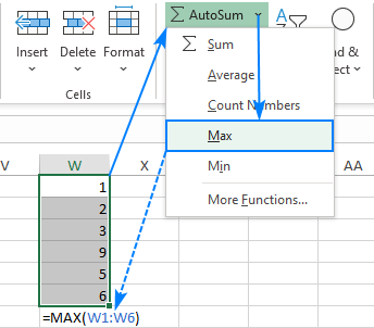 Use AutoSum to insert a MAX formula automatically.