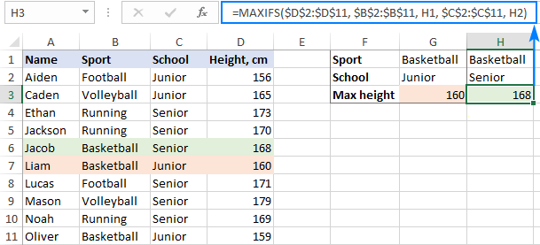 Excel MAXIFS formula with multiple criteria