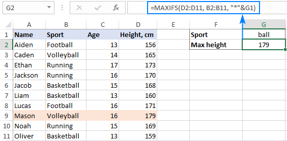 A MAXIFS formula with wildcard character