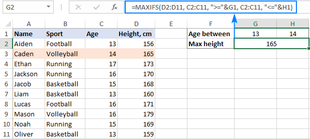 Find the max value with greater than and less than criteria