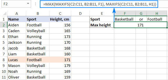 Find the max value based on multiple criteria with OR logic