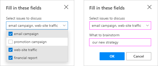 Make choices in the dropdown menu and enter some text in the input box.