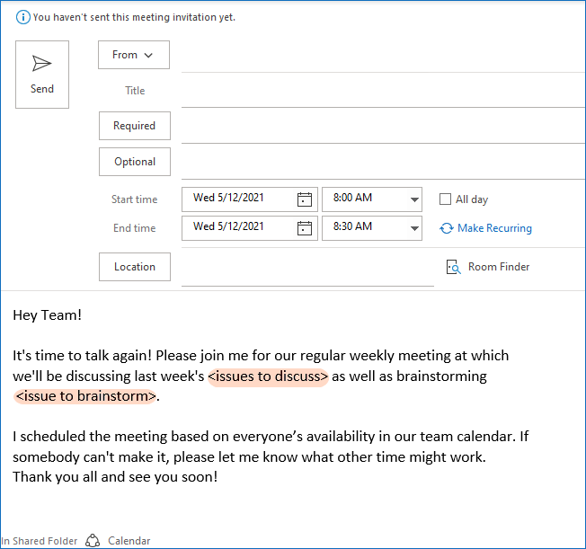 A recurring meeting invite sample