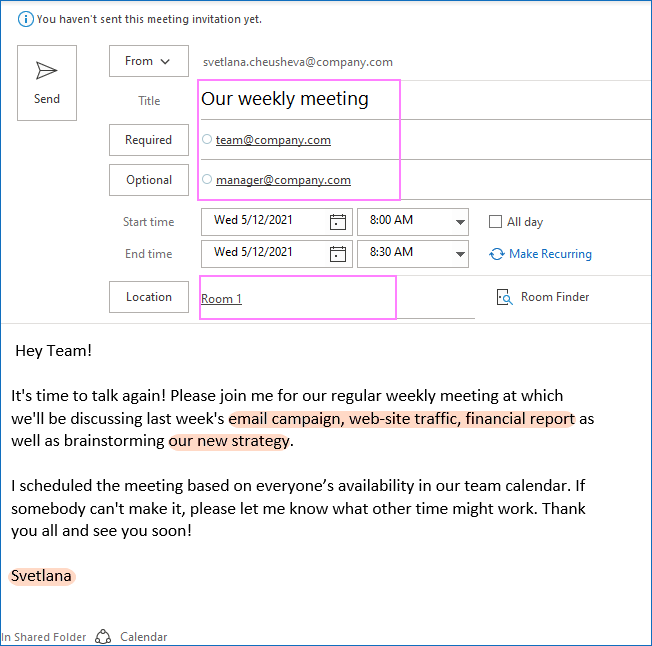 Recurring meeting invite from template