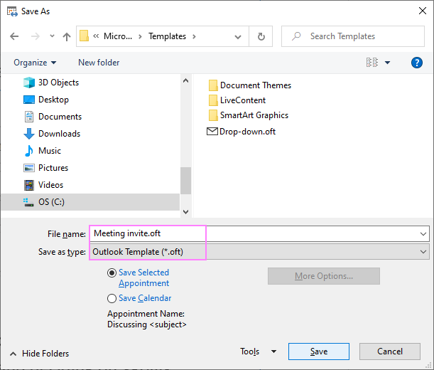 Save a meeting invite as Outlook template.