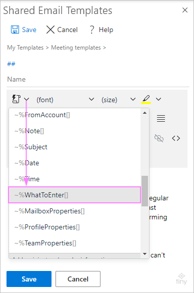 Add the What To Enter macro to your meeting template.