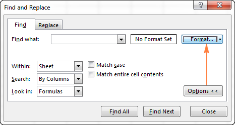 In the Find and Replace dialog, click Options > Format.