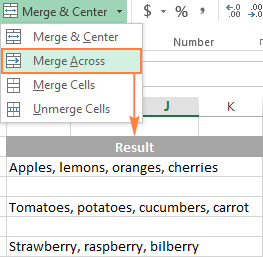 Merge Across - combine the selected cells in each row individually