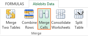 The Merge Cells add-in for Excel