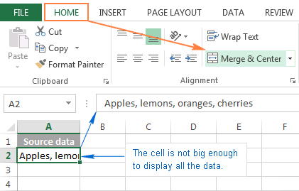 Combine cells in Excel using the Merge and Center feature