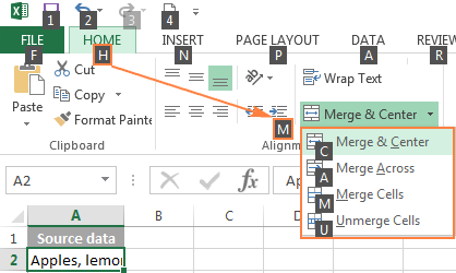 Shortcut to merge cells in Excel