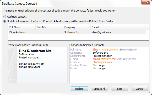 Choose whether to update information of the existing contact or add a new contact.