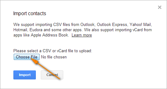 Click the Choose File button and select the CSV file you've created earlier.