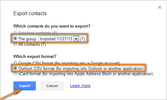 Choose which contacts to export and the export format.