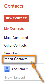 Log into your Gmail account and click Import Contacts...