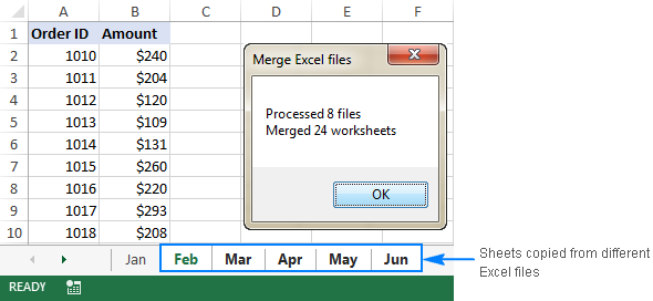 The result of executing the MergeExcelFiles macro