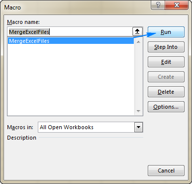 Run the MergeExcelFiles macro.