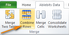 The Combine Rows Wizard add-in