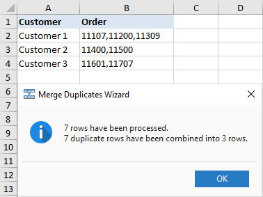 Data from duplicate rows are merged into one row.