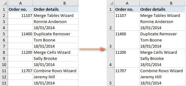 The task is to repeatedly merge blocks of three rows in an Excel worksheet.