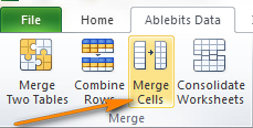 The Merge Cells button on the Excel Ribbon