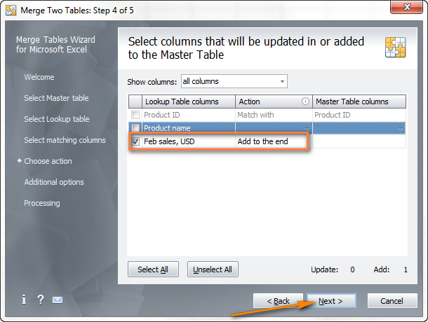Choose which columns you want to update and which add to the end of the main table.