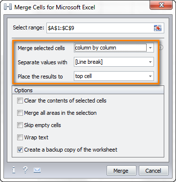 Choose how you want to merge rows and separate the merged values.