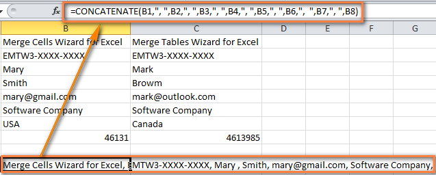 Multiple rows of data merged into one row using the CONCATINATE formula.