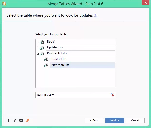 Select the lookup table on the second step of the Wizard