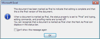 You will receive this information reminder if you use the Mark as Final feature for the first time