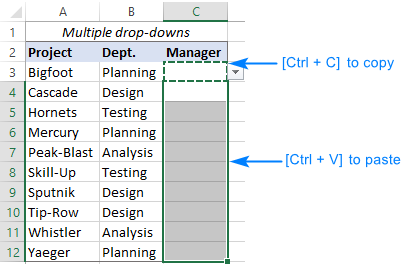 Copy the dependent drop down across multiple rows