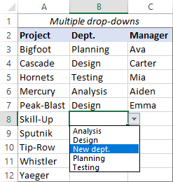 Expandable multiple drop-down list in Excel