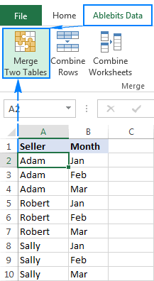 Merge Two Tables button on the Excel ribbon