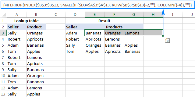 Formula to Vlookup multiple matches and return results in rows