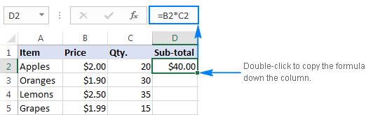 Multiply one column by another with the multiplication operator