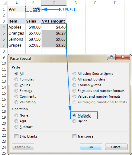 Using Paste Special Multiply to multiply a column by a number