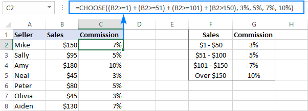 Using CHOOSE instead of nested IF formula in Excel