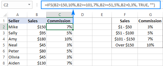 Excel IFS statement to handle multiple conditions