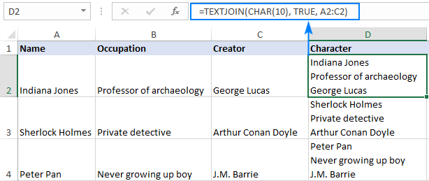 Excel formula to add carriage returns in a cell