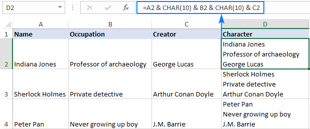 Creating new lines in Excel cell with a formula