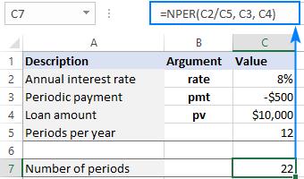 Calculating NPER in Excel