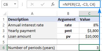 Basic NPER formula in Excel