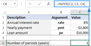 Using the NPER function in Excel