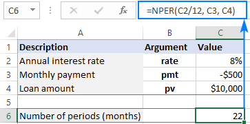 NPER formula for monthly payments