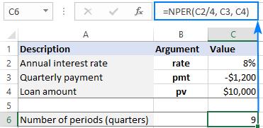 NPER formula for quarterly payments
