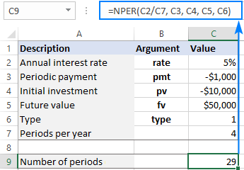 A universal formula to find NPER in Excel