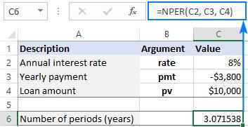 NPER function returns a decimal number